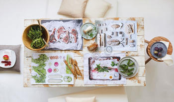 Apelt Platzset 3955 DELIKATESSEN - Gemüse (Set 4-tlg) 35x48 cm - Polyester grün-weiß