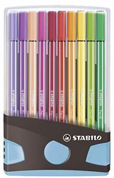 Stabilo Premium-Filzstift STABILO Pen 68 Colorparade 20er Tischset in anthrazit/hellblau mit 20 verschiedenen Farben