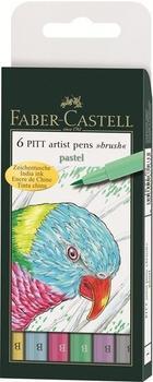 """Faber-Castell Tuschestift PITT artist pen B 6er Etui """"Pastel"""""""