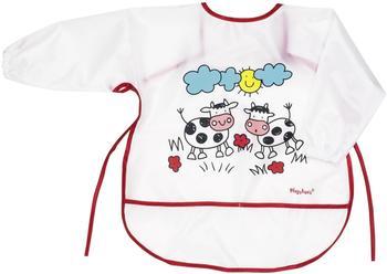 Playshoes Lätzchen mit Ärmeln durchsichtig mit Kuh weiß
