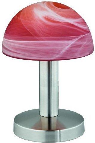 Tischleuchte in Nickel-Matt und Weiß E14 mit Touchfunktion Alabasterglas