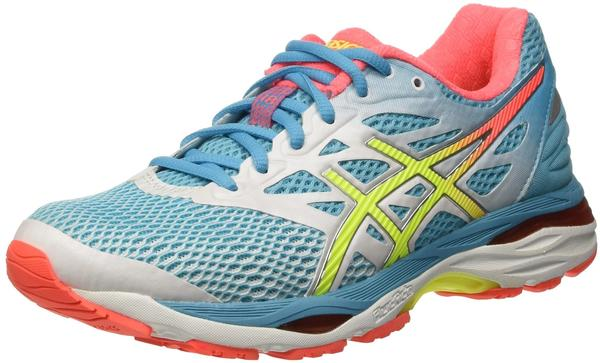 Asics Gel-Cumulus 18 Women white/safety yellow/blue atoll