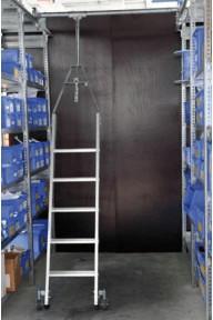 Günzburger Steigtechnik Aluminium-Regalleiter, für Doppelregal, drehbar, Arbeitshöhe 461 cm