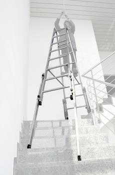 Günzburger Steigtechnik Aluminium-Stehleiter treppengängig 2x8 Sprossen