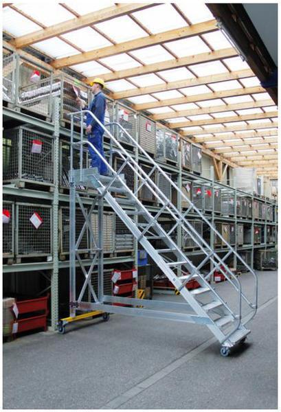 Günzburger Steigtechnik Aluminium-Plattformtreppe fahrbar 45° 15 Stufen