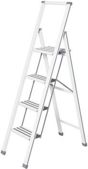 Wenko Alu-Design Klapptrittleiter 4 Stufen weiß