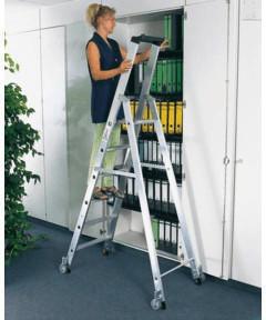 guenzburger-aluminium-stehleiter-einseitig-begehbar-rollen-1-x-14-stufen