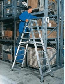 Günzburger Steigtechnik Aluminium-Stehleiter, beidseitig begehbar mit Rollen, 2x14 Stufen, Arbeitshöhe 500 cm