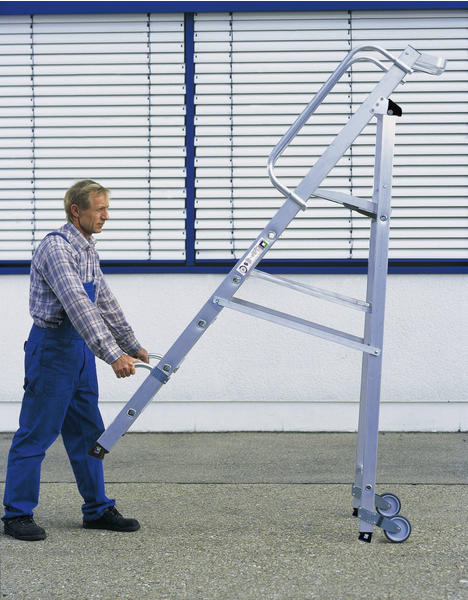 Günzburger Steigtechnik Aluminium Stehleiter mit Rollen 4 Stufen
