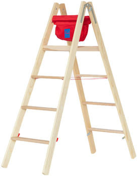 Hymer Holz-Stufenstehleiter 2x7 Stufen (7149914)