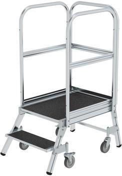 Günzburger Steigtechnik Podesttreppe eins. begehbar mit Federrollen Korundbeschichtung R 13 2 Stufen (054102)
