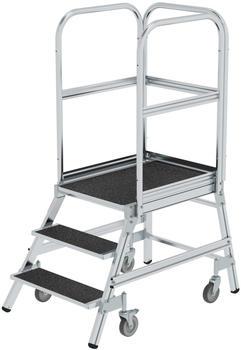 Günzburger Steigtechnik Podesttreppe eins. begehbar mit Federrollen Korundbeschichtung R 13 3 Stufen (054103)