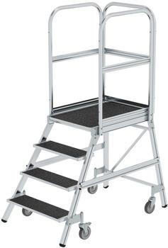 Günzburger Steigtechnik Podesttreppe eins. begehbar mit Federrollen Korundbeschichtung R 13 4 Stufen (054104)