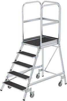 Günzburger Steigtechnik Podesttreppe eins. begehbar mit Federrollen Korundbeschichtung R 13 5 Stufen (054105)