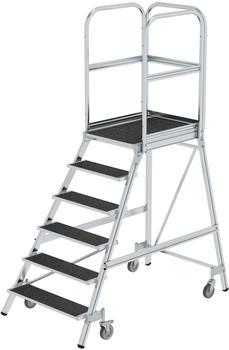 Günzburger Steigtechnik Podesttreppe eins. begehbar mit Federrollen Korundbeschichtung R 13 6 Stufen (054106)