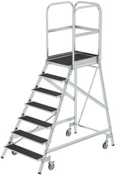 Günzburger Steigtechnik Podesttreppe eins. begehbar mit Federrollen Korundbeschichtung R 13 7 Stufen (054107)