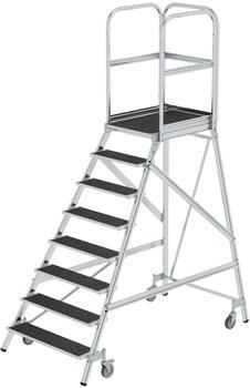 Günzburger Steigtechnik Podesttreppe eins. begehbar mit Federrollen Korundbeschichtung R 13 8 Stufen (054108)