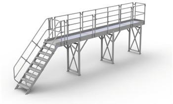 Günzburger Steigtechnik Laufsteg-Modul-Belag Aluminium geriffelt Plattformlänge 1,26 m (332004)