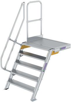 Günzburger Steigtechnik Treppen-Plattform 60° Stufenbreite 1000 mm 5 Stufen Aluminium geriffelt (600405)