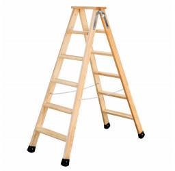 Günzburger Steigtechnik Stufen-Holzleiter 2x6 Stufen (33812)