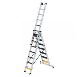 Günzburger Steigtechnik Stufen- Mehrzweckleiter mit Wandlaufrollen, clipstep R13 und Nivello Traverse 3x6 Sprossen (33319)