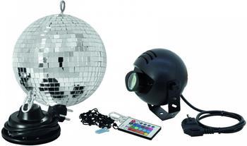 Eurolite Spiegelkugelset, 20cm, mit LED-RGB-Spot IR