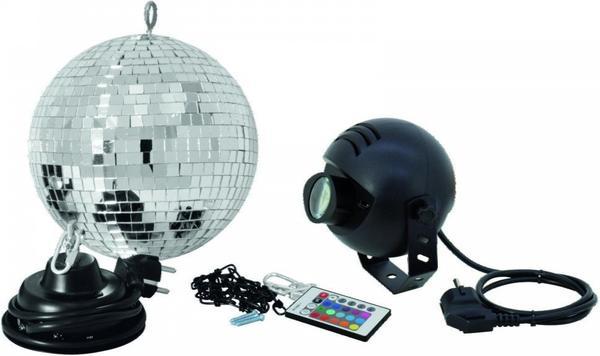 Eurolite Spiegelkugelset 30cm mit LED-RGB-Spot IR