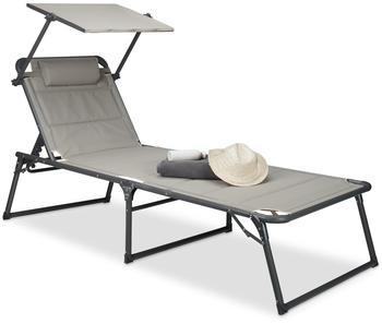 Relaxdays Sonnenliege 200 x 70 x 37 cm beige gepolstert inkl. Sonnendach klappbar