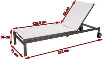OUTFLEXX Rollliege, weiß, Edelstahl/Textilene, verstellbarer Rückenlehne, 212x71x36cm