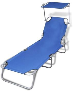 VidaXL Outdoor Foldable Sunbed with Canopy 189 x 58 x 27 cm Blue