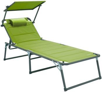 Meerweh Aluminium Gartenliege XXL mit Dach grün (74056)