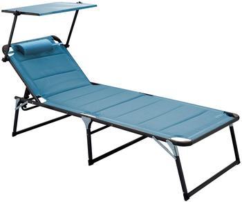 Meerweh Aluminium Gartenliege XXL mit Dach blau (74058)