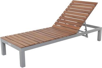 VILLANA Gartenliege Alu / FSC-Akazienholz 200 x 70 x 33 cm 4-Stufen verstellbar braun (HT-L066)