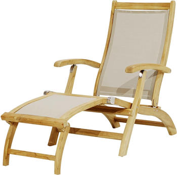 Ploß Richmond Deckchair FSC-Teak/ Textilene taupe 137/160x59x92cm abnehmbares Fußteil braun (1200912)