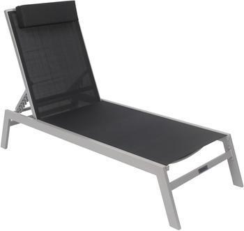 VILLANA Gartenliege silber/schwarz Aluminium/Textil 198 x 60 x 100 cm verstellbar schwarz (HT-L058.1) silber