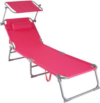 TecTake Sonnenliege mit Sonnendach 190cm pink