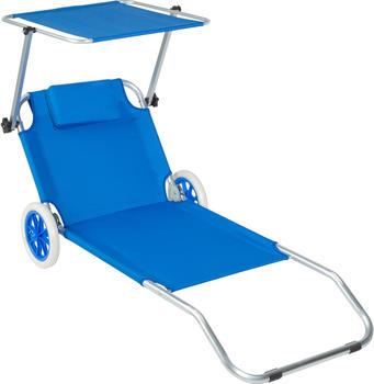 TecTake Strandliege mit Rollen 176cm blau