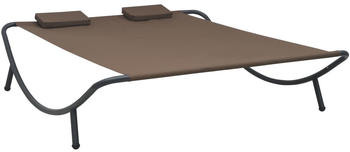 vidaXL Double Sunbed in Brown Fabric