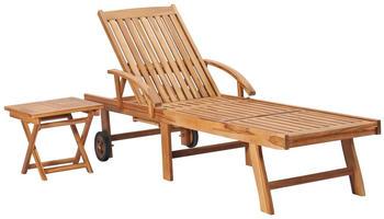vidaXL Sunbed With Table in Teak Wood