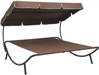 vidaXL Sunbed With Markise in Brown Fabric