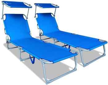 Vounot Canopy Sun Lounger Blue (Set of 2)