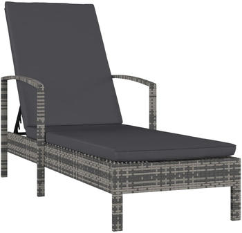 vidaXL Garden Lounger With Armrests in Resin Anthracite