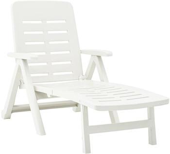 vidaXL Folding Plastic Lounger White