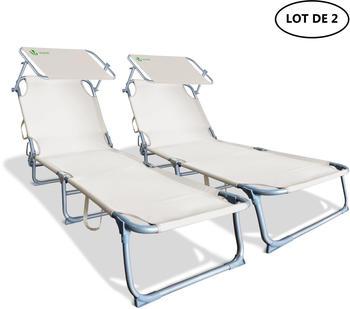 Vounot Canopy Sun Lounger Beige (Set of 2)