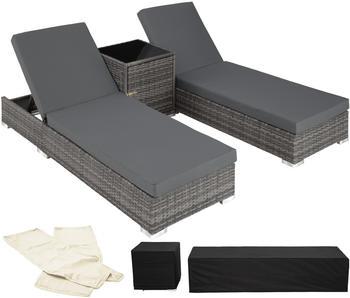 TecTake 2 Sonnenliegen Rattan mit Aluminiumgestell und Tisch inkl. Schutzhülle grau (TT403088)