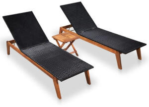 vidaXL Sun Lounger in Braided Resin and Acacia Wood (2 Pieces)