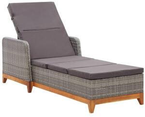 vidaXL Sun Lounger With Cushions in Braided Resin
