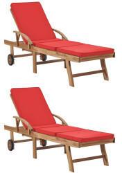 vidaXL Sonnenliegen mit Auflagen 2 Stk. Massivholz Teak rot (3054637)