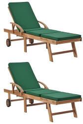 vidaXL Sonnenliegen mit Auflagen 2 Stk. Massivholz Teak grün (3054635)