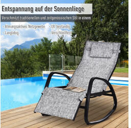 Outsunny Schaukelliege Verstellbare Rückenlehne Kopfkissen Textilene Grau (84A-121)
